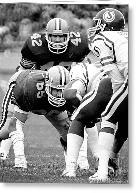 Greeting Card featuring the photograph Edmonton Eskimos Football - Dave Fennell 1982 by Terry Elniski