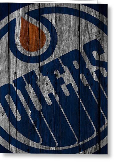 Edmonton Oilers Wood Fence Greeting Card by Joe Hamilton