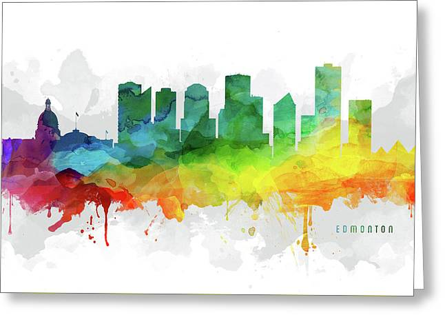 Edmonton Skyline Mmr-caabed05 Greeting Card by Aged Pixel