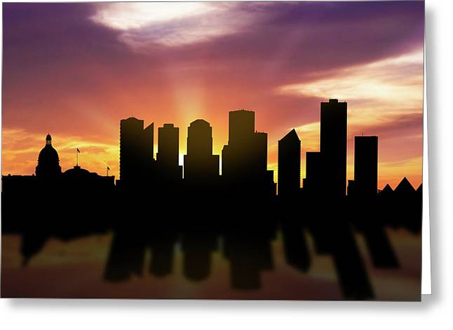 Edmonton Skyline Sunset Caabed22 Greeting Card by Aged Pixel