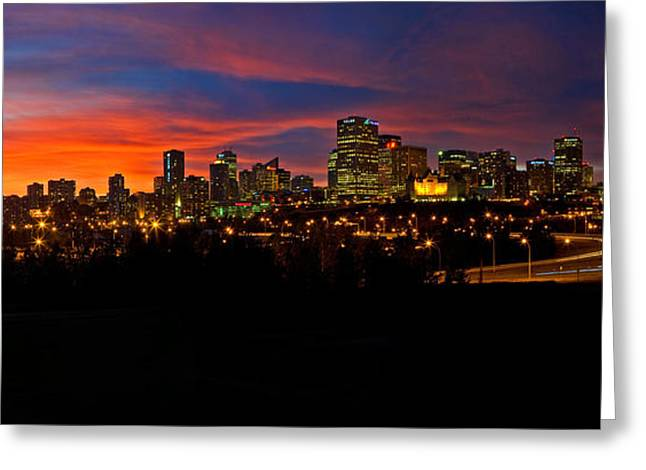 Edmonton Greeting Cards - Edmonton Skyline Sunset Spectacular Greeting Card by Terry Elniski
