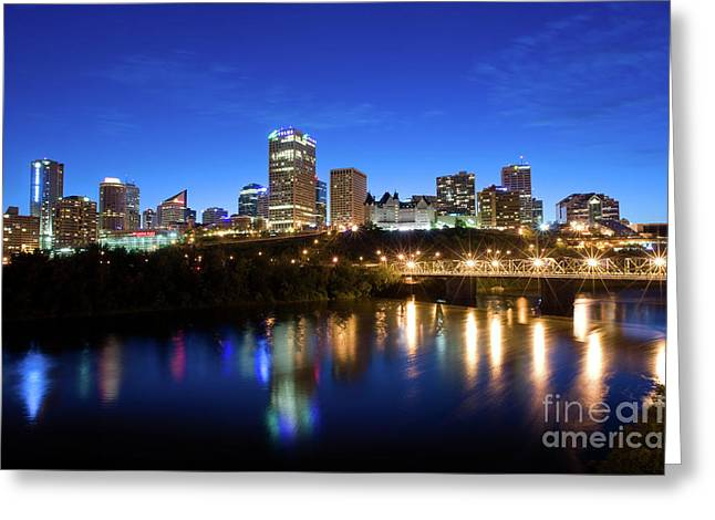 Edmonton Greeting Cards - Edmonton Skyline Greeting Card by Terry Elniski