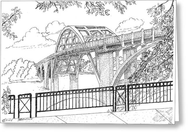 Alabama Drawings Greeting Cards - Edmund Pettus Bridge Greeting Card by Barney Hedrick