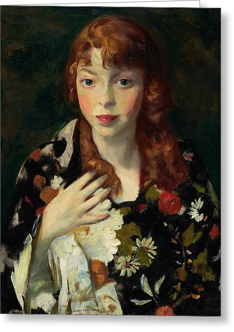 Edna Smith In A Japanese Wrap Greeting Card by Robert Henri