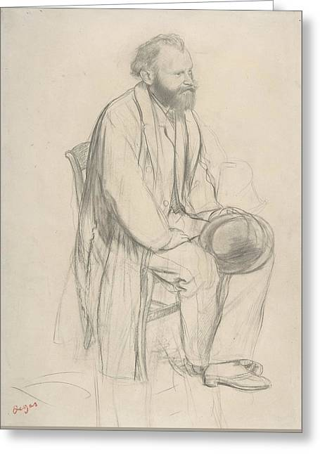 Edouard Manet, Seated, Holding His Hat Greeting Card