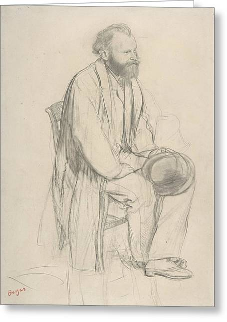 Edouard Manet, Seated, Holding His Hat Greeting Card by Edouard Manet