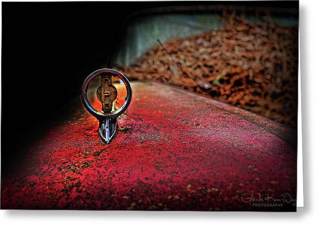 Greeting Card featuring the photograph Edsel Emblem by Glenda Wright