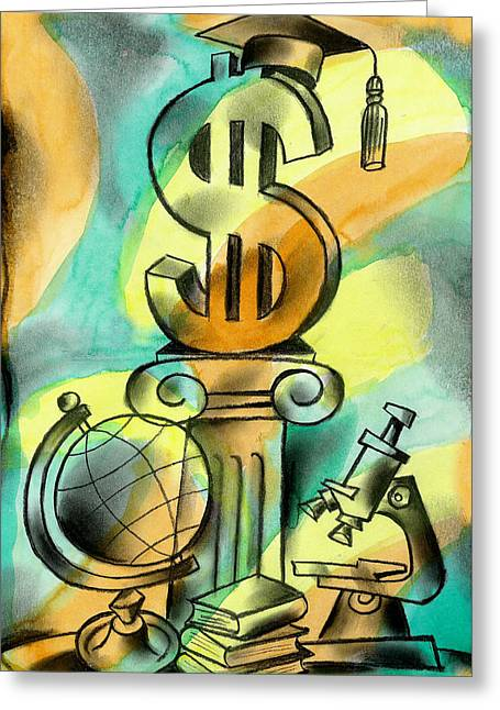 Education And Money Greeting Card by Leon Zernitsky