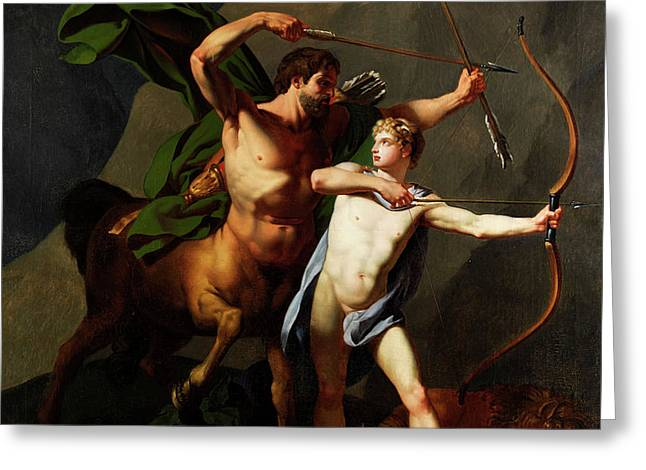 Education Of Achilles By The Centaur Chiron Greeting Card