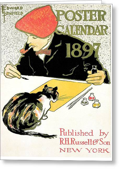 Edward Penfield 1897 Calendar Ad With Cat Greeting Card