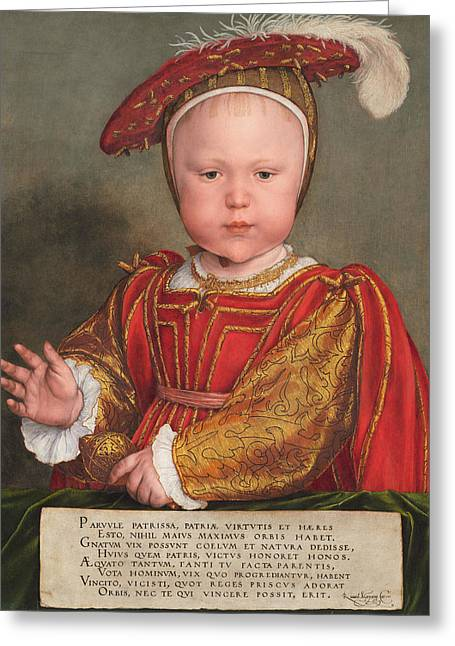 Edward Vi As A Child Greeting Card by Hans Holbein the Younger