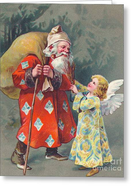 Edwardian Christmas Card Of Father Christmas Carrying A Sack And Talking To An Angel Greeting Card
