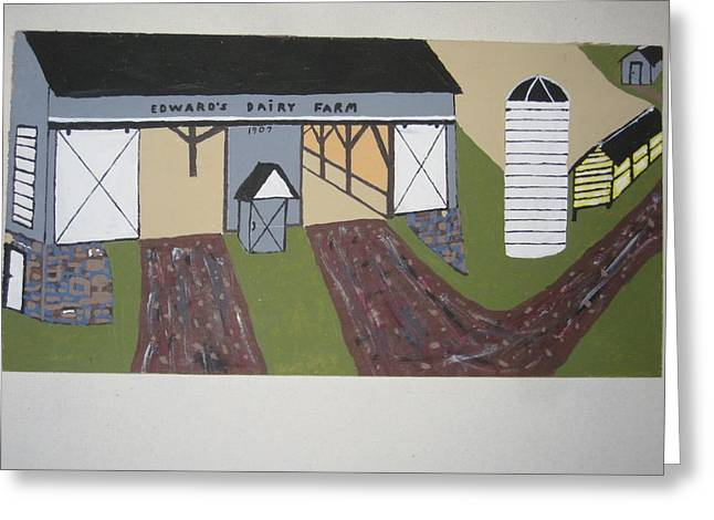 Greeting Card featuring the painting Edwards Dairy Farm by Jeffrey Koss
