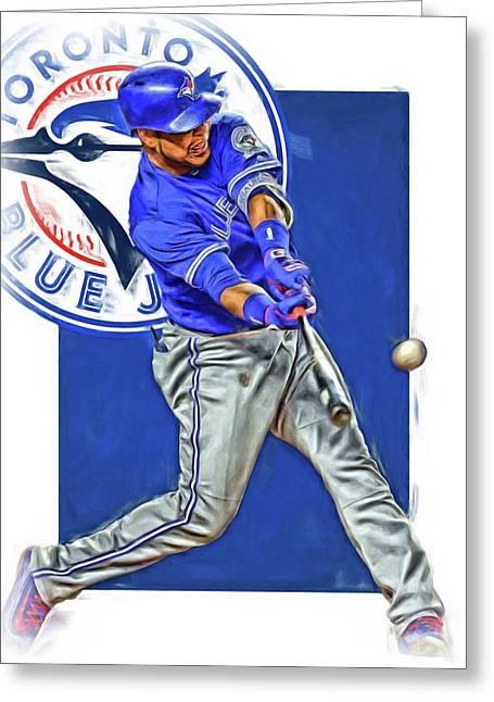 Edwin Encarnacion Toronto Blue Jays Oil Art Greeting Card