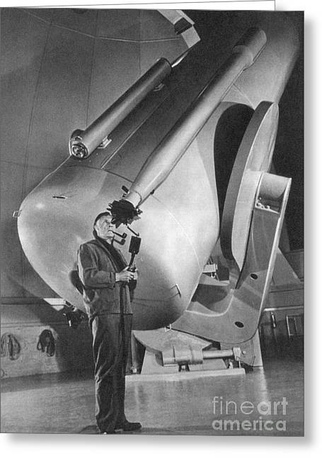 Edwin Hubble And Telescope Palomar Greeting Card