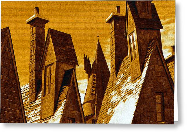 Hogsmeade Village Roof Tops Greeting Card by David Lee Thompson