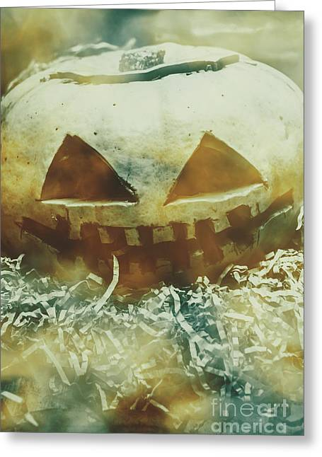 Eerie Ghoulish Halloween Pumpkin Head Greeting Card