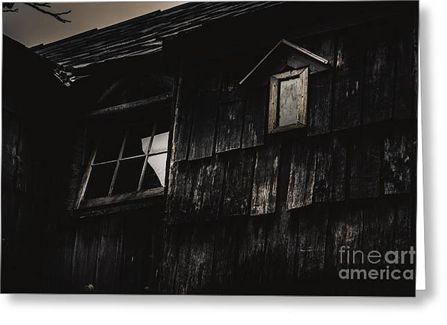 Eerie Vintage Abandoned Home. The Dark Shack Greeting Card by Jorgo Photography - Wall Art Gallery