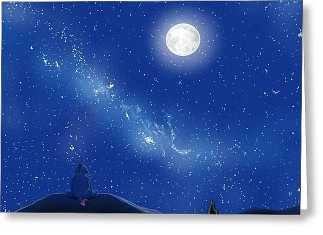 Eeyore A Lonely Night Greeting Card