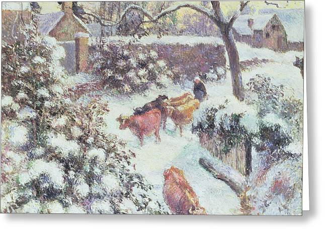 Freezing Greeting Cards - Effect of Snow at Montfoucault Greeting Card by Camille Pissarro