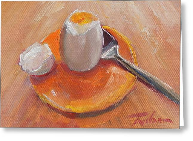 Egg And Spoon Greeting Card by Ron Wilson