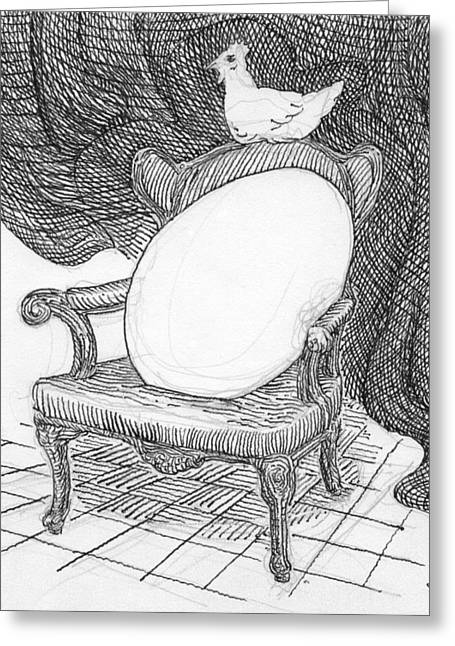 Egg In Chair Sketch Greeting Card