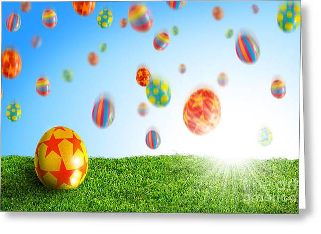 Egg In Grass Greeting Card by Carlos Caetano