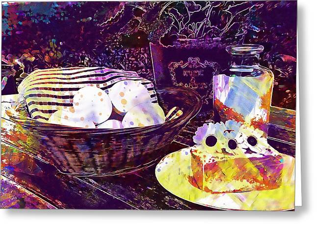 Greeting Card featuring the digital art Egg Milk Butter Out Garden Herbs  by PixBreak Art