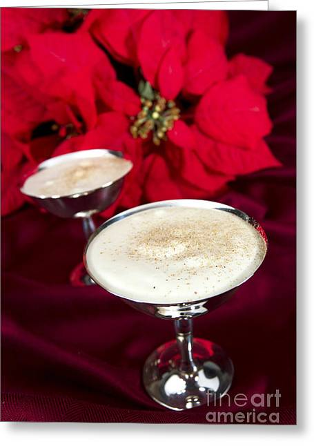 Egg Nog With Pointsetta Greeting Card