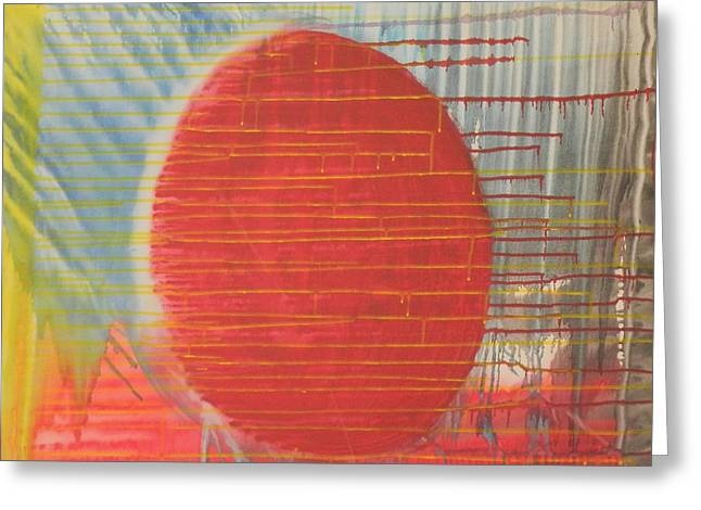 Egg Shaped Red Orb Greeting Card by James Howard