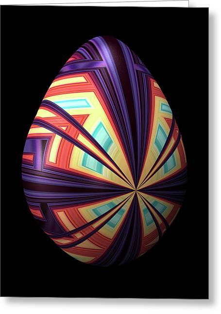 Egg With Convergent Lines Greeting Card by Hakon Soreide