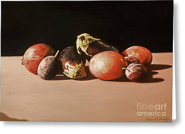 Eggplants And Red Potatoes Greeting Card by Daniel Montoya