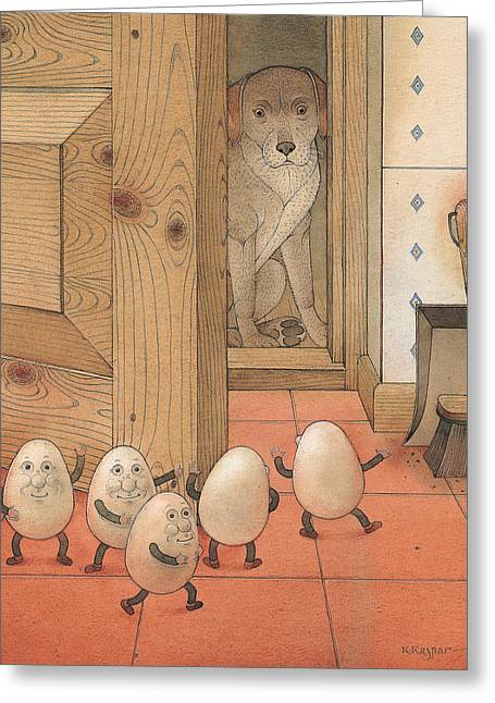 Eggs And Dog Greeting Card by Kestutis Kasparavicius