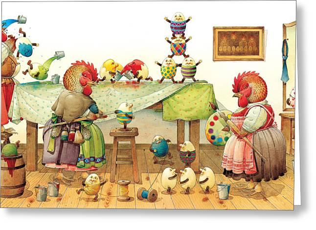Eggs Dyeing Greeting Card by Kestutis Kasparavicius