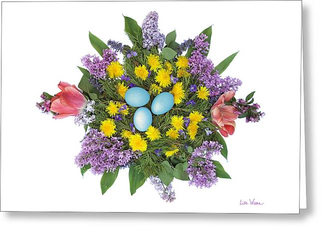 Eggs In Dandelions, Lilacs, Violets And Tulips Greeting Card by Lise Winne
