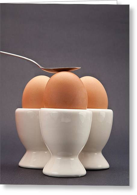 Background Greeting Cards - Eggs Greeting Card by Tom Gowanlock