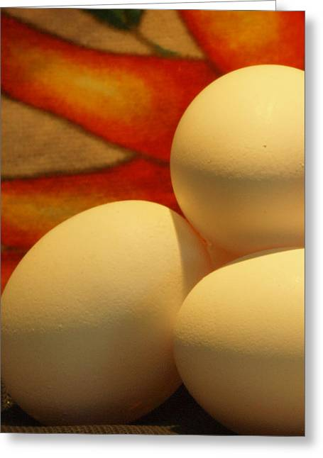 Eggs Tres Greeting Card by Irma BACKELANT GALLERIES
