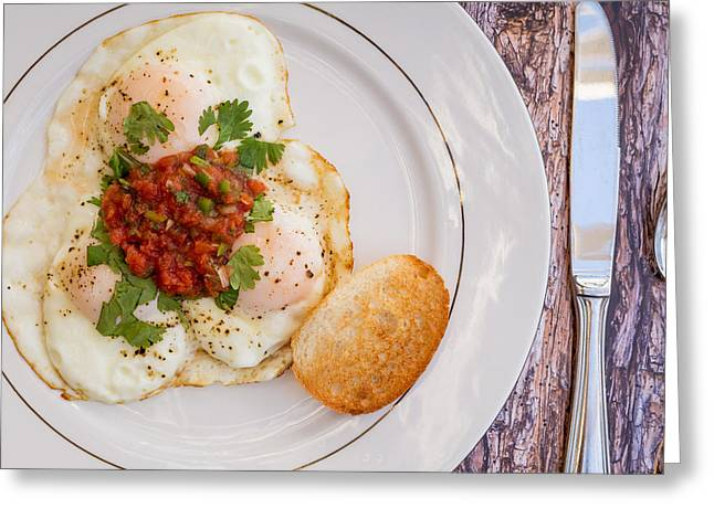 Eggs With Salsa And Toast #1 Greeting Card by Jon Manjeot