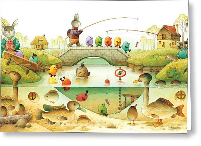 Eggstown Greeting Card by Kestutis Kasparavicius