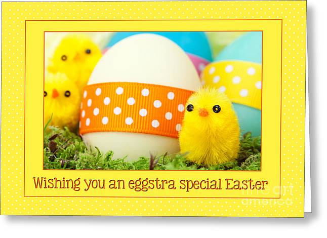 Greeting Card featuring the digital art Eggstra Special Easter by JH Designs