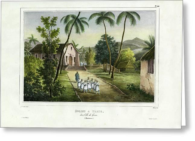 Greeting Card featuring the drawing Eglise A Guam Church On Guam by Dumont d Urville de Sainson