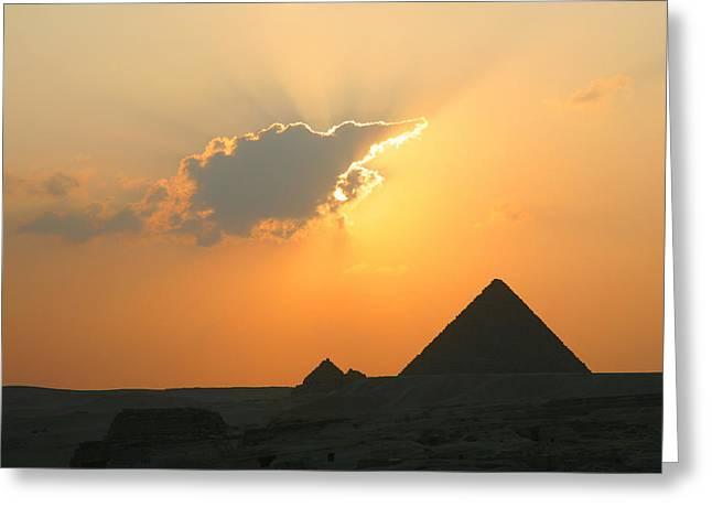 Egpytian Sunset Behind Cloud Greeting Card
