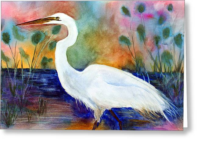 Egret 2 Greeting Card by Tina Storey