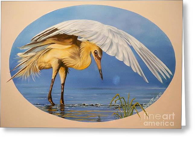 Chloe The  Flying Lamb Productions                  Egret Fishing Greeting Card