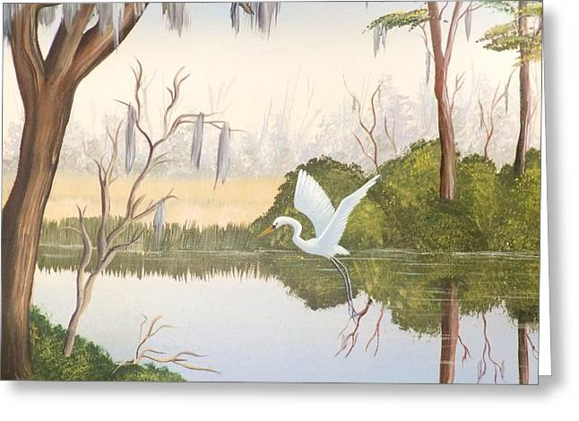 Egret In Flight 1 Greeting Card by Denise Fulmer