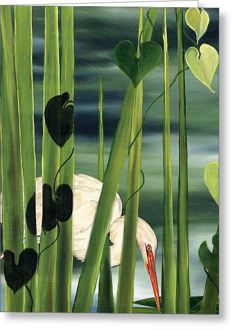 Greeting Card featuring the painting Egret In Reeds by Anne Beverley-Stamps