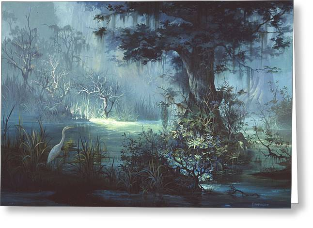 Egret In The Shadows Greeting Card