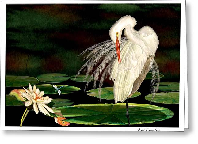 Greeting Card featuring the painting Egret Pruning In Lily Pads by Anne Beverley-Stamps
