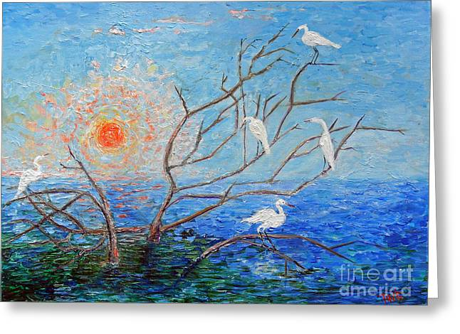 Greeting Card featuring the painting Egrets At Sunrise by Doris Blessington