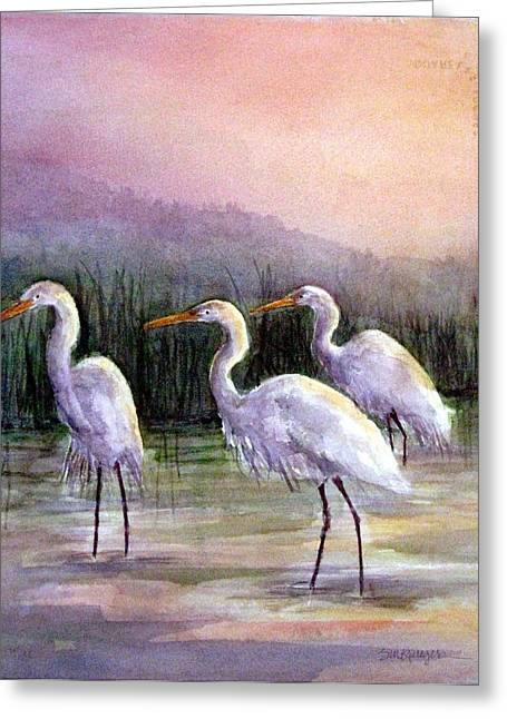 Egrets At Sunset Greeting Card by Suzanne Krueger